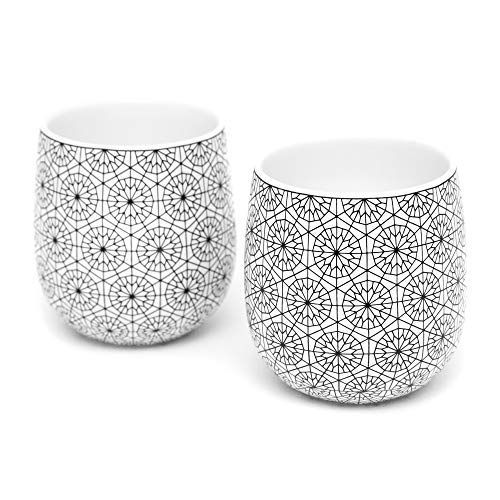 Dobbelt Set of 2 Double Walled Coffee Cups, 6 Ounce, Circle Pattern - Insulated Ceramic Mugs for Latte, Cappuccino, Tea - Modern, Contemporary, Art Deco Design - Box Set, by Kop & Hagen ()