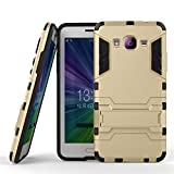 CASSIEY (TM) Tough Heavy Duty Shockproof Military Grade Armor Defender Series Dual Protection Layer Hybrid TPU + PC Kickstand Back Case Cover for Samsung Galaxy Grand Prime G530H - Gold