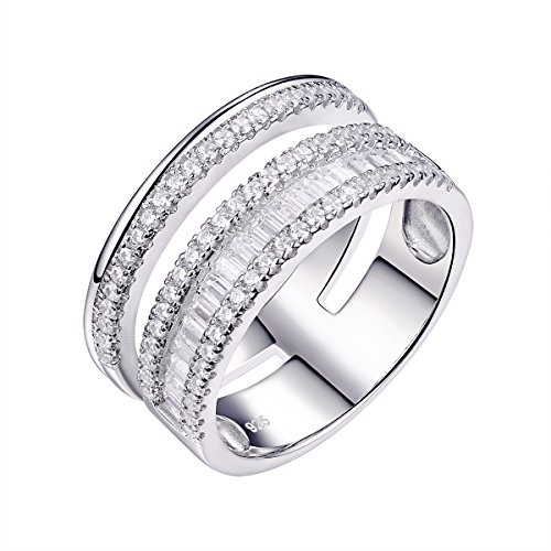 Newshe Wedding Bands for Women Engagement Anniversary Eternity Ring White Cz 925 Sterling Silver Size 5