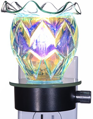 TVaromatics Iridescent Carnival Glass Plug-in Aroma Lamp Oil Warmer with Dimmer - -