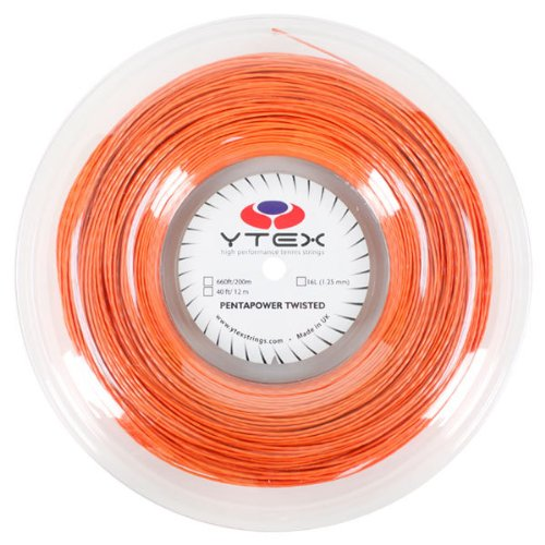 (YTEX Pentapower Twister Tennis Racket String (Gauge 16L-1.25mm), Terracotta, 660-Feet/200m)