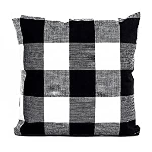 Pillow Cover, Famibay Home Decor Square Tartan Cotton Linen Throw Pillow Case Retro Checkered Plaids Pillowcase Cover For Sofa 18 x 18 Inch (White and Black)