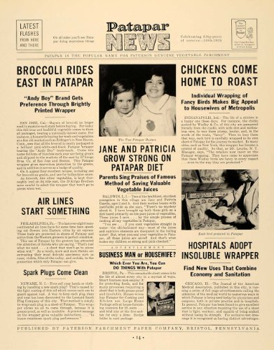 1935 Ad Paterson Parchment Paper Patapar Newspaper - Original Print Ad from PeriodPaper LLC-Collectible Original Print Archive