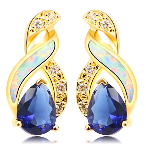 Sterling Silver Stud Earring Yellow Gold Blue Opal Mystic Topaz Sapphire Women Jewelry (Yellow Gold White Sapphire) ()