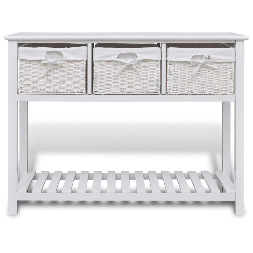 Generic e Hallway S Storage Shelf d Console Table Hallway f 3 Woven 3 Woven age Shelf 3 White Sideboard Console Wooden Wood Baskets Wooden Wood