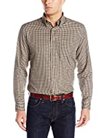 Arrow Men's Long Sleeve Gingham Heritage Twill Button Up Shirt