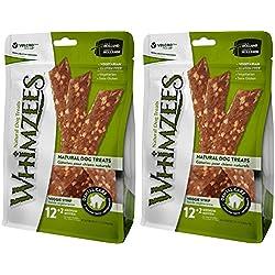 Whimzees 2 Pack of Natural Grain-Free Veggie Strips Dental Dog Treats, Medium, 14 Per Pack