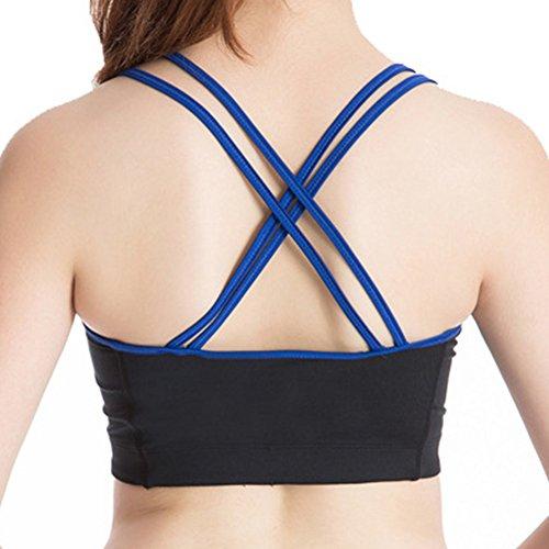 Sujetador Deportivo Bra Top Atlético Chaleco Gym Fitness Yoga para Mujer Negro Azul