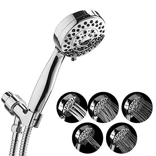 Handheld Shower Head , Ahbbry 5 Function Shower Head with Stainless Steel Hose and Bracket , Full-Chrome Finish Hand Shower , Easy Installation