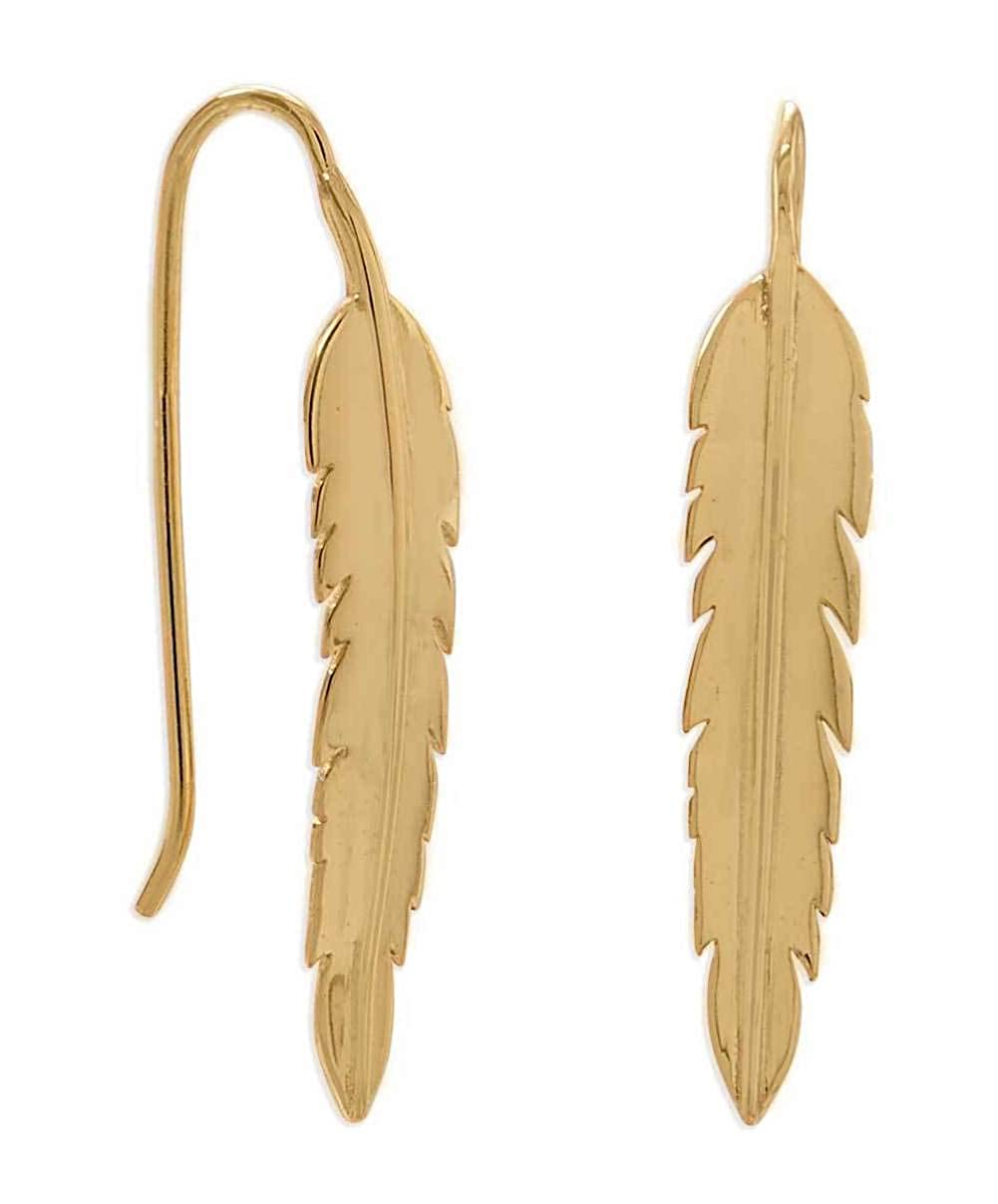 32.5m 14K Gold Plated Sterling Silver Feather Wire Dangle Earrings