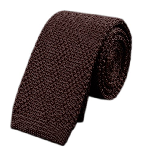 Men Classic Coffee Solid Color Woven Silk Ties Designer Cotton Necktie Neckwear -