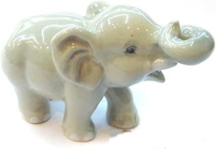 Mini Ceramic Gray Elephant Figurine Handicraft Porcelain Miniature Collectible