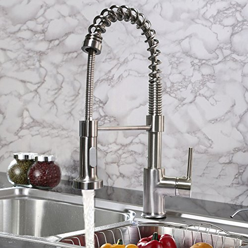 Best Deals! Premium Lead Free Kitchen Sink Faucet Wih Pull Out Sprayer, Pull Down Kitchen Faucets Br...