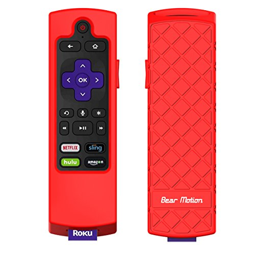 Bear Motion Case for Roku 2017 Remote Controller - Silicone Shock Resistant Cover for Ruko 2017 Remote Controller (Streaming Stick/Stick + / Express 2017, Red)