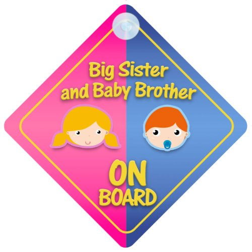 - Big Sister And Baby Brother On Board Car Sign New Baby / Child Gift / Present / Baby Shower Surprise