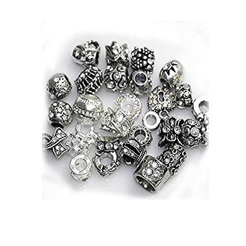 SEXY SPARKLES Ten (10) of Assorted Rhinestone Beads Random 10 Beads Mix Charms Spacers for Bracelets Fits Snake Chain Bracelets