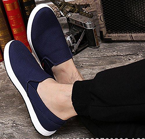 Idifu Mens Mode Faible Haut Plat Slip On Mocassins Chaussures Toile Sneakers Bleu