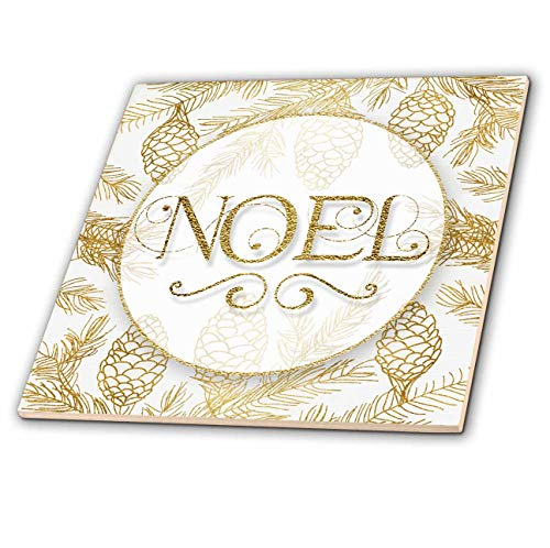 Collection Glass Images Tile - 3dRose Doreen Erhardt Christmas Collection - Image of Golden Pines Botanical Noel Typography Christmas - 6 Inch Glass Tile (ct_298753_6)