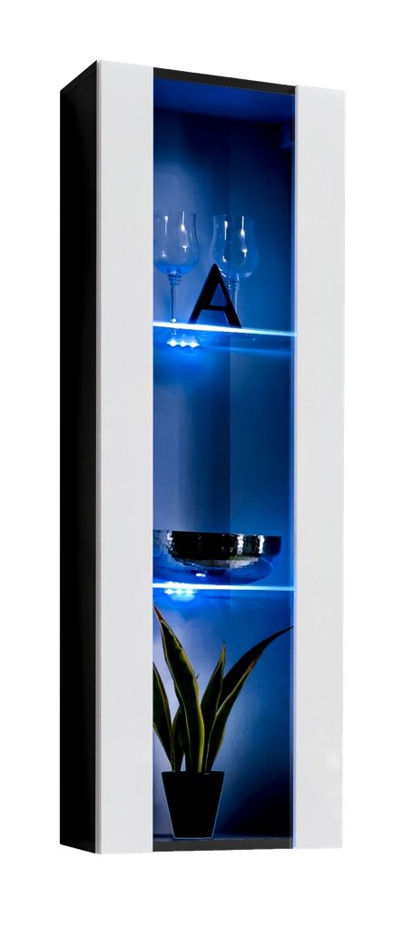 Vetrinetta sospesa modello Zarco nero bianco con LED - larghezza: 40cm x altezza: 126cm x profondità: 29 cm muebles bonitos