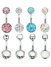 Finrezio 8Pcs 14G Surgical Steel Belly Button Rings for Women Girls Aurora Crystals Ear Navel Rings CZ Body Piercing Jewelry
