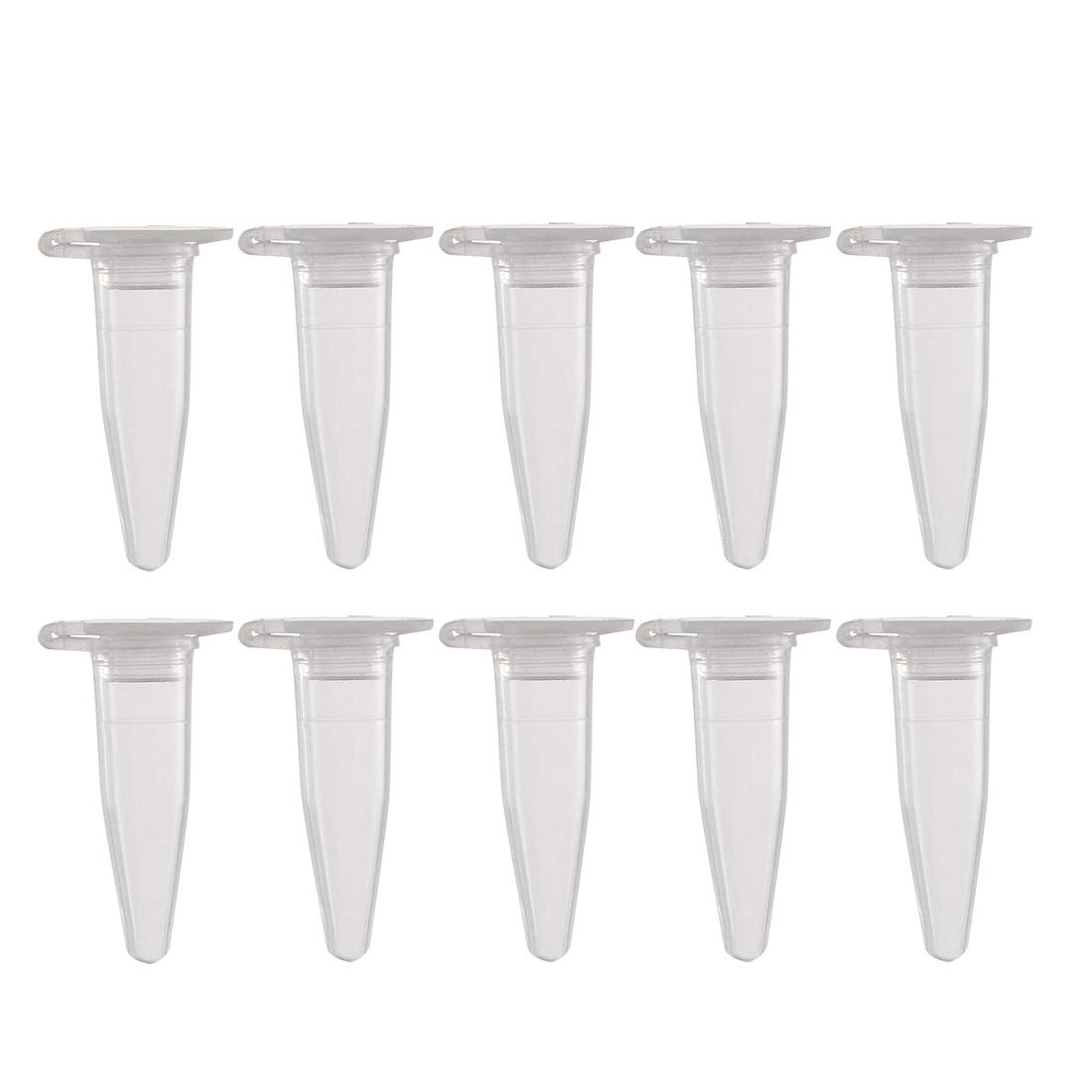 uxcell 50 Pcs 0.2ml Plastic Centrifuge Tubes with Attached Cap, Conical Bottom