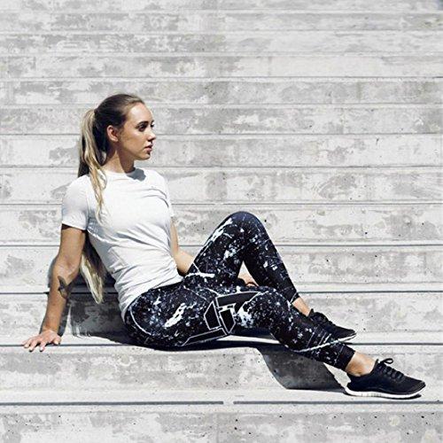 Culater® Femmes Ciel Imprimé Yoga Maigre Gym Leggings Fitness Sport Recadrée Pantalon