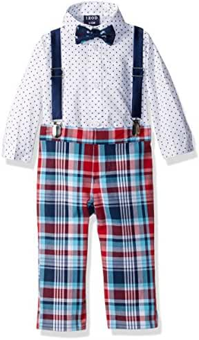 IZOD Baby Boys' Micro Gingham Creeper Set