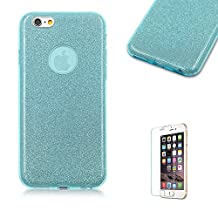 iPhone SE Bling Case, iPhone 5S Case [with Free Screen Protector].Funny Luxury Sparkly Glitter Design Stylish Fashion PC + Glitter Sticker + Soft Rubber TPU Ultra Slim Design Protective Cover Shell for iPhone 5/5S/SE-Light Blue