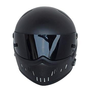 ZHAORLL Casco De Moto Kart Azul Casco Bluetooth ATV-2 Mate Negro (S,