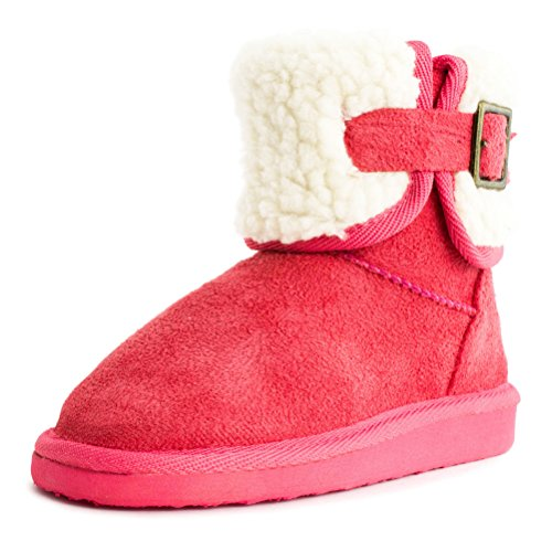 Buckle Pink Booties Lining Womens Adults Winter Ankle Fur Side Coral CWSZwA5q