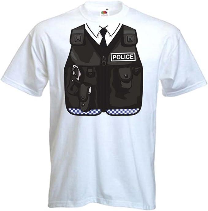Policía Uniforme Traje/Disfraz – Camiseta de Manga Corta para Hombre (tamaños pequeña – XXXL) Blanco Blanco: Amazon.es: Ropa y accesorios