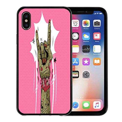 Semtomn Phone Case for Apple iPhone Xs case,Halloween Zombie Hand Shows Rock Gesture Punk Party Sketch Dead for iPhone X Case,Rubber Border Protective Case,Black -