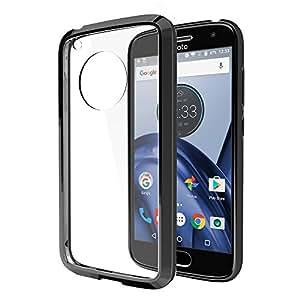 Dream Wireless Funda Case para Motorola Moto G5 Plus, Carcasa Transparente de Acrílico Rígido con Bordes de Plástico TPU Negro