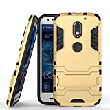 SDO™ Hybrid Armor with Kick Stand Version 2.0 Back Cover Case for Moto E3 Power 3rd Gen (Gold)
