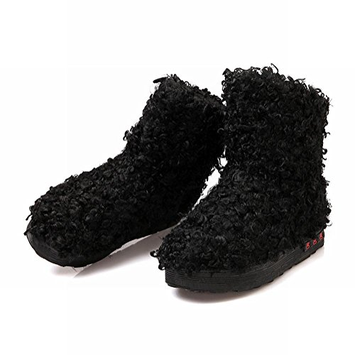 Show Shine Womens Fashion Platform Short Boots Snow Boots Black EpKnVm55kt