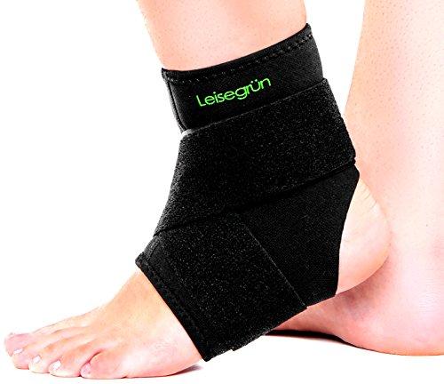 LEISEGRÜN - Sprunggelenkbandage mit Klettverschluss stützt den Fuß beim Sport wie Handball, Fußball, Volleyball - Fußgelenkbandage geeignet für Damen, Herren und Kinder - Größe S-M