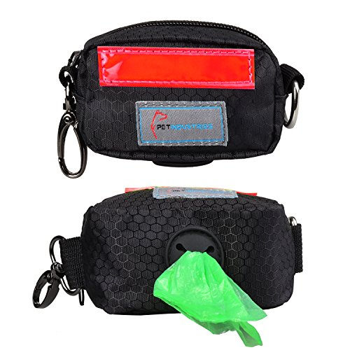 Pet Industries Dog Poop Bag Holder Dispenser, Heavy-Duty Waterproof Material, Reflective Strip, Zippered Pouch & Carabiner Clip for Easy Carry and Leash Attachment Strap (Crimson Red)