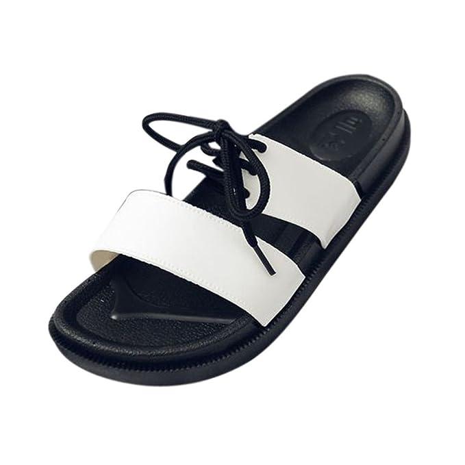 Chanclas Mujer YiYLunneo Zapatillas De Mujer con Fondo Grueso Bordado De Tacón Alto Zapatos Plataforma CuñAs: Amazon.es: Ropa y accesorios