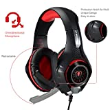 PS4 Gaming Headset, Joso 3.5mm LED Light Over-Ear Headphones with Microphone/Volume Control for iPhone SE 6 6S Plus, Samsung, PC Laptop Tablet with 2-in-1 Audio and Mic Splitter Adapter-Red