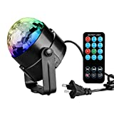 Tabiger Disco Ball Party Lights Ball 3W RGB Sound Activated Strobe Light Stage New Year Christmas Halloween lights Show Outdoor for Kids Fun Xmas Wedding Home DJ Karaoke KTV Club Pub(with Remote)