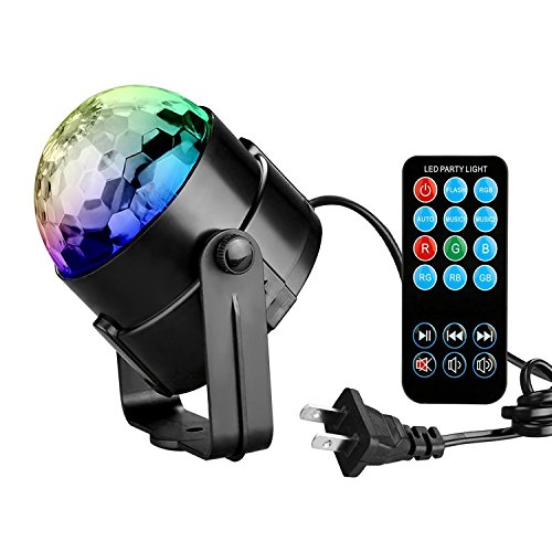 [Tabiger Disco Ball Party Lights Ball 3W RGB Sound Activated Strobe Light Stage New Year Christmas Halloween lights Show Outdoor for Kids Fun Xmas Wedding Home DJ Karaoke KTV Club Pub(with Remote)] (Fun Lamp That Lights)