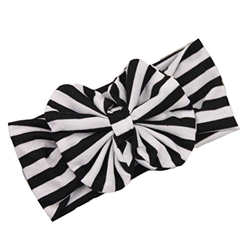 DZT1968(TM)Baby Girl Newest Stripe Bowknot Turban Headband Head Wrap Knotted Hair Band (Black)