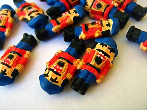 World's Natural Treasures - 10 Tiny Nutcracker Beads (Blue/red) - CB434 - Huge Selection of Beading Accessories