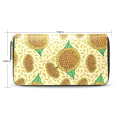 Women Sunflower Hand Drawn Leather Wallet Large Capacity Zipper Travel Wristlet Bags Clutch Cellphone Bag