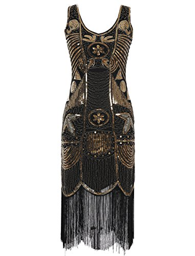 Emust Women's 1920s Gatsby Sequins Beads Embellished Fringed Party Flapper Dress Gold Size Large (Buy Flapper Dresses)