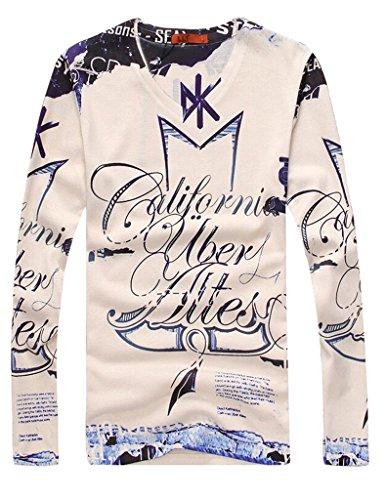 VENTELAN Men's Long Sleeve New hot Fashion Floral Basic Tunic Round Neck T-Shirt