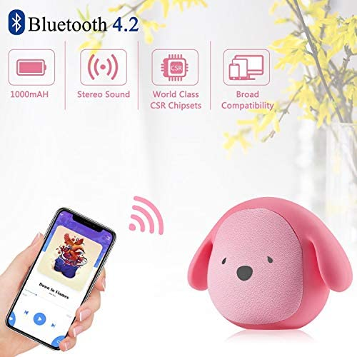 Dog Doggie Bluetooth Portable Speaker 5W Output Bass Stereo Personalized Cute Artistic Wireless Speaker for Home Party Cafe Bar Compatible for Desktop PC Laptop Mobile Phone Rose