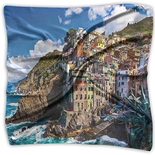 (Bandana Head and Neck Tie Neckerchief,Italian Mediterranean House By Cliffs Dramatic Weather Sea Cinque Terre Print,Headband)
