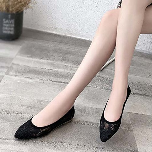 JINANLIPIN Ballet Flat Shoes Breathable Women's Lace Dress Toe Mesh Wedding Black Pointed zYzvUrw