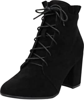 Cambridge Select Womens Western Crisscross Lattice Strappy Buckle Chunky Stacked Heel Ankle Bootie